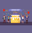office team celebrates birthday company vector image
