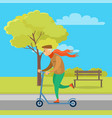 old man with red scarf riding scooter in park vector image vector image