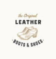 original leather boots retro sign symbol vector image