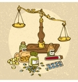 Pharmaceutical Scales and Pills vector image vector image