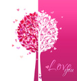Pink and white love tree vector image vector image