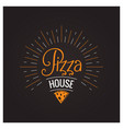 pizza cheese hot logo on black background vector image vector image