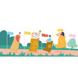 sack race concept with happy family characters vector image