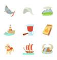 scandinavian icons set cartoon style vector image vector image