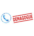 scratched demagogue stamp and phone mosaic of vector image vector image