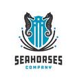 sea horse shield logo design vector image vector image
