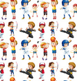 Seamless children and sports vector image vector image