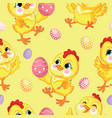 seamless pattern with cute chickens and easter vector image