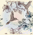 seamless wallpaper pattern with birds and flowers vector image