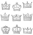 set crown various style doodles vector image vector image