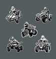 set five one color quad bikes in different vector image vector image