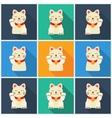 Set Maneki-neko cat flat vector image vector image