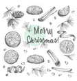 set of hand drawn christmas winter spices pattern vector image