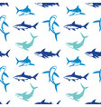 sharks silhouettes seamless pattern vector image vector image