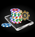smartphone and casino chips vector image vector image