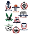 Sport games symbols and icons set vector image vector image