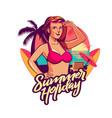 summer holiday girl emblem sunset version vector image