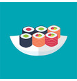 Sushi rolls with tuna and salmon plate vector image