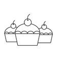 sweet cupcakes dessert vector image vector image