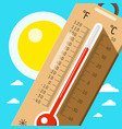 thermometer with sky and sun hot weather in vector image vector image