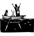 Two Men in a Boat vector image vector image