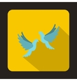Two white pigeons icon flat style vector image vector image