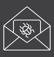 virus in email line icon spam and security vector image vector image