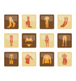 woman and female clothes icons vector image vector image