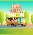 cartoon kids back to school on yellow bus vector image