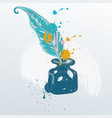 feather quill pen standing vector image