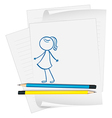 A paper with a sketch of a young girl vector image vector image