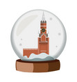 a realistic snow globe with a kremlin vector image