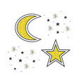 abstract golden moon and stars icons on white vector image