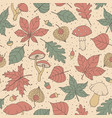 autumn seamless pattern with oak maple leaves vector image
