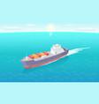 cargo ship leaves trace in sea marine vessel icon vector image vector image