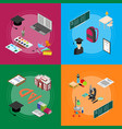 education school banner card set isometric view vector image