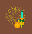 flat on background of champagne candles fireworks vector image vector image