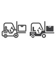 forklift delivery truck line and glyph icon vector image vector image