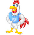 funny chicken cartoon posing with smiling vector image vector image
