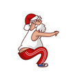 funny fat santa claus doing sit-ups cartoon vector image vector image