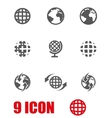 grey world map icon set vector image