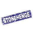 grunge stonehenge framed rounded rectangle stamp vector image
