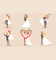 happy elegant just married couples set newlywed vector image vector image