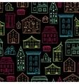 Houses Pattern Lineart Dark vector image vector image