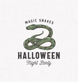 magic snakes halloween night party sign logo vector image vector image
