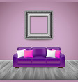 modern interior with purple sofa vector image vector image