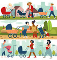 mom walking outdoors with pram and newborn baby vector image