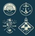 monochrome nautical logos collection vector image vector image