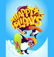 penguins snowboarders and inscription happy ho vector image vector image