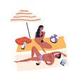 relaxing people romantic couple sunbathing vector image vector image